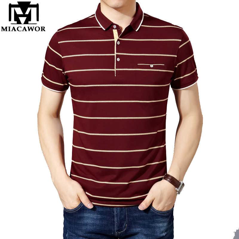 844b75c763aa891 Miacawor Новый Slim Fit Поло Рубашки мужские хлопковые Модные Полосатые Для  мужчин летние шорты рукавами футболка