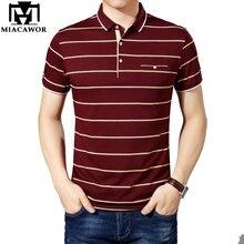 MIACAWOR 뉴 슬림 피트 폴로 셔츠 남성 코튼 패션 줄무늬 남성 여름 짧은 소매 티 셔츠 옴므 캐주얼 Camisa T718