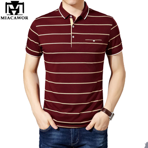 Image 1 - MIACAWOR New Slim Fit  Polo shirts Men Cotton Fashion Striped Men  Summer Short sleeve Tee shirt Homme Casual Camisa  T718