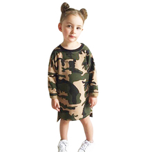 Baby Girls Clothes Casual Long Sleeve Camouflage Dress Kid Loose Straight Children Girls Clothes Shirt Toddler
