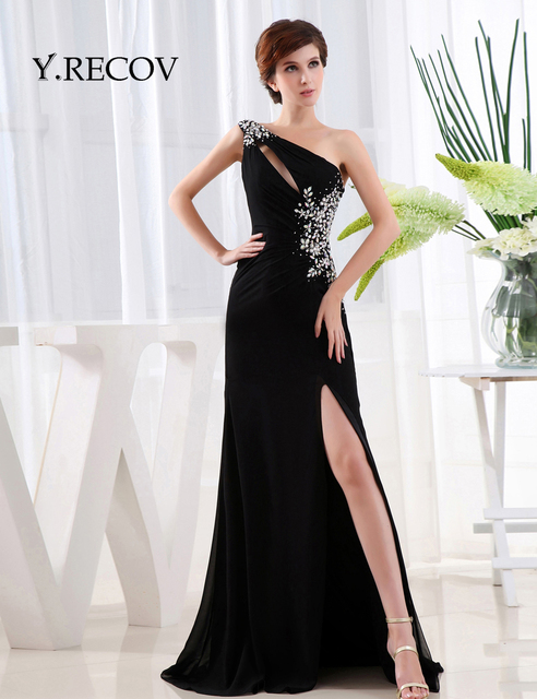 df97c812dd0 Glamorous Long Black Prom Dresses YD2119 A-line One Shoulder Beading Long  Beautiful Prom Dresses Slit