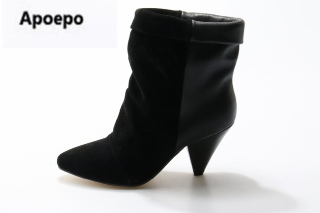 femme bottine chaussure High Heels botte gris SYIiyte