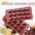 1 pc 15 furos coração forma molde de chocolate diy silicone Decoração do bolo Molde Geléia Gelo Molde de Cozimento do Presente do Amor de Chocolate moldes