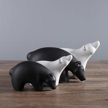 Black and White Ceramic Polar Bear Figurines