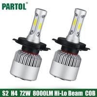 2x Plug Play H4 COB LED Headlight 72W 8000LM Hi Lo Beam Car LED Headlights Bulb