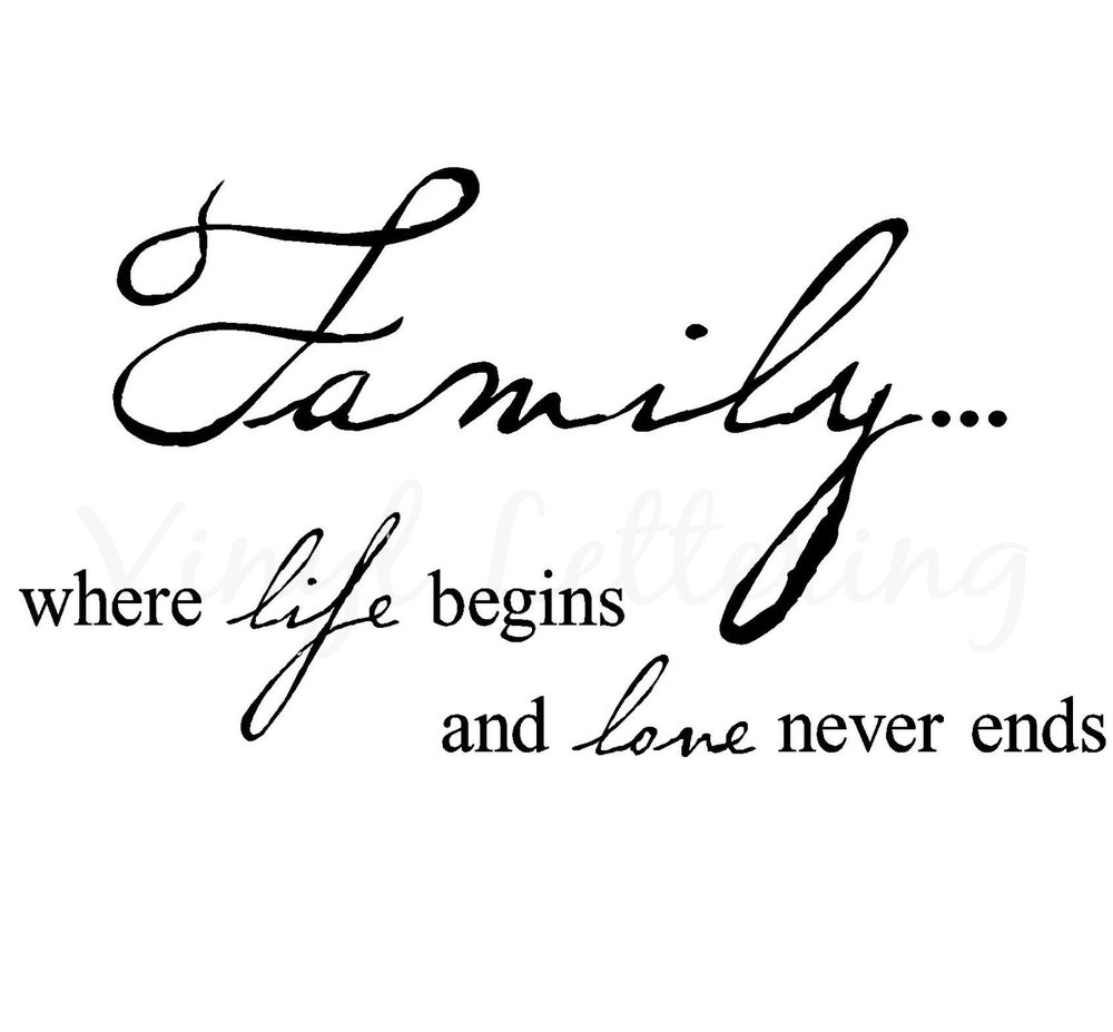 Family Where Life Begins And Love Never Ends   H X  W Vinyl Lettering Wall Sayings Art Decor Decal Sticker Word In Wall Stickers From Home Garden