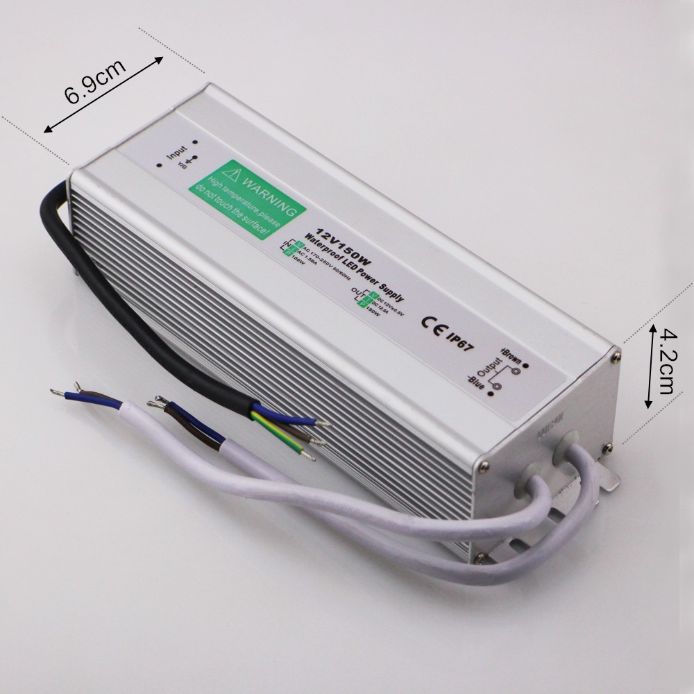 Free Shipping DC 12V 150W LED Driver IP67 Waterproof AC 170-250V Power Supply LED Transformator Switching Power Supply 12V 150W  free shipping 5pcs lot 150w hot selling ac90 250v to dc12v or dc24v transformer ip67 waterproof led driver power supply