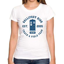 Letter printed women doctor who t-shirt lady retro police box DR WHO t shirts short sleeve casual slim hipster tops fashion tee(China)
