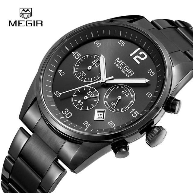 2016 Новый Megir Хронограф 6 Рук Кожа Бизнес Часы Montre Homme Известный Бренд Часы Мужчины Часы Люксовый Бренд Megir 2015