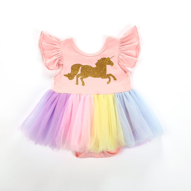 fbe85eac7 Newborn infant Baby Girls Clothes Princess Girls Unicorn Rainbow ...