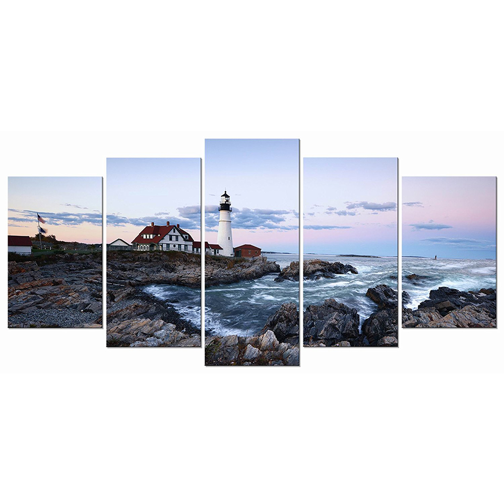 Portland Lighthouse 5 Panels Modern Canvas Prints Artwork Seascape Pictures to Photo Paintings on Stretched and Framed Canvas Wa