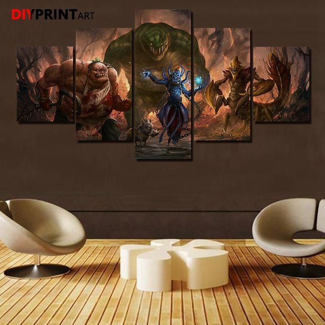 DOTA 2 Leviathan 5 Panels Game Characters Canvas Art Wall Pictures for Living Room A1034 2