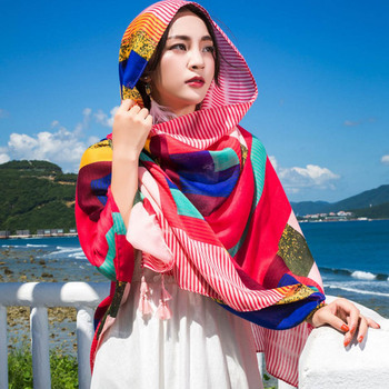 180*100cm Summer Print Silk Scarf Oversized Chiffon Scarf Women Pareo Beach Cover Up Wrap Sarong Sunscreen Long Cape Female 1