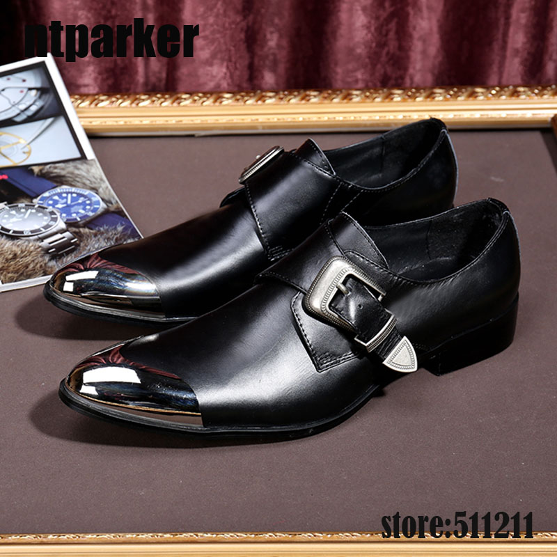 ntparker Fashion Men's leather shoes buckle strap pointy Metal Front Cap high heels Business dress oxford shoes for men classic style classic mens dress shoes deep coffee color genuine leather oxford shoes for men lace up pointy loafers high heels