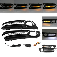 2 pieces Turn Signal Light Front Bumper Grill Fog Light Grille Cover DRL Daytime Runing Light For Audi A4 B8 2009 2010 2011