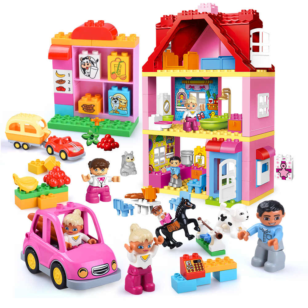 GOROCK Friends Pink City Girl Princess Figure Family House Colourful Kids Building Block Educational Baby Toys Gifts