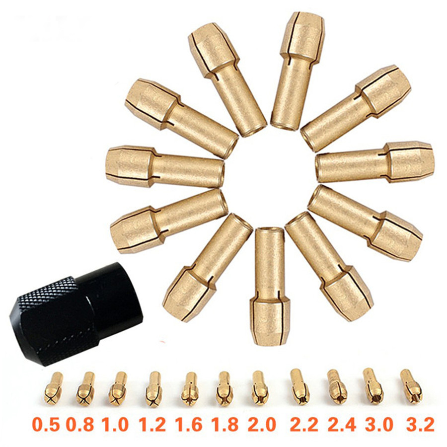 Brass Collet Chuck 0.5/0.8/1.0/1.2/1.6/1.8/2.0/2.2/2.4/3.0/3.2mm + M8*0.75 12 Pcs Fits Dremel Rotary Tools Dremel Accessories