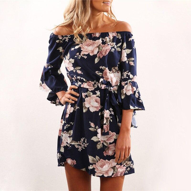 Frauen Kleid 2018 Sommer Sexy Schulterfrei Blumendruck Chiffon Kleid Boho Stil Kurzschluss-partei Strand Kleider Vestidos de fiesta