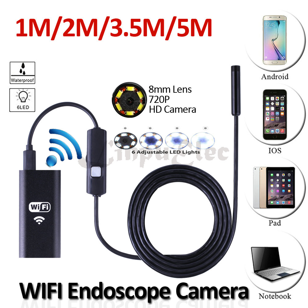 wifi iphone android usb endoscope camera 8mm lens 5m 3 5m. Black Bedroom Furniture Sets. Home Design Ideas