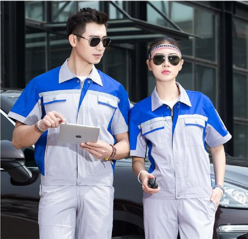 Summer short Sleeve Factory uniform Sets Contrast Color match Protective cloths Labour Wear Auto Repair man work Cloth Top Pants
