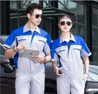 Summer short Sleeve Factory uniform Sets Contrast Color match Protective cloths Labour Wear Auto Repair man work Cloth Top Pants