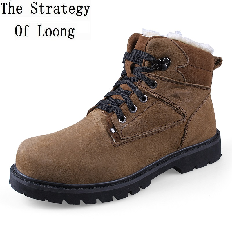 2017 new full grain leather men martin ankle short snow boots genuine leather high top thick warm cotton boots plus size 47 4819
