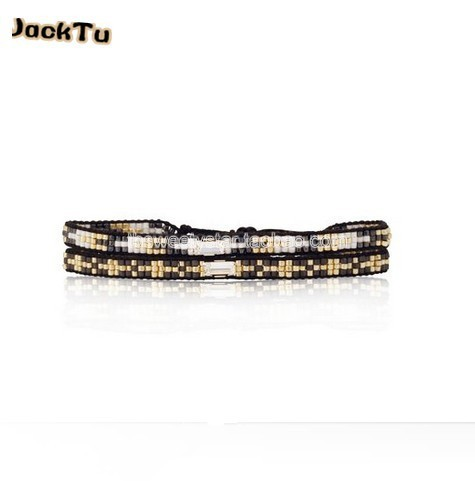 grey series seed beads nylon woven bracelet