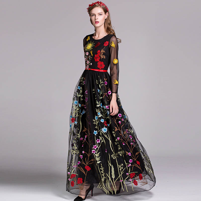 Luxury New Arrival 2019 Spring Women s O Neck Long Sleeves Embroidery Layered Floral Maxi Runway