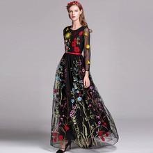 Luxo nova chegada primavera o pescoço das mulheres mangas compridas bordados em camadas floral maxi vestidos de pista em 3 cores