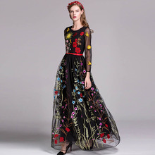 Luxury New Arrival 2018 Spring Women's O Neck Long Sleeves Embroidery Layered Floral Maxi Runway Dresses in 3 Colors