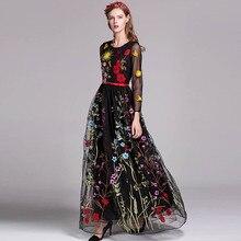 Luxus Neue Ankunft Frühling frauen O Neck Long Sleeves Stickerei Layered Floral Maxi Runway Kleider in 3 Farben