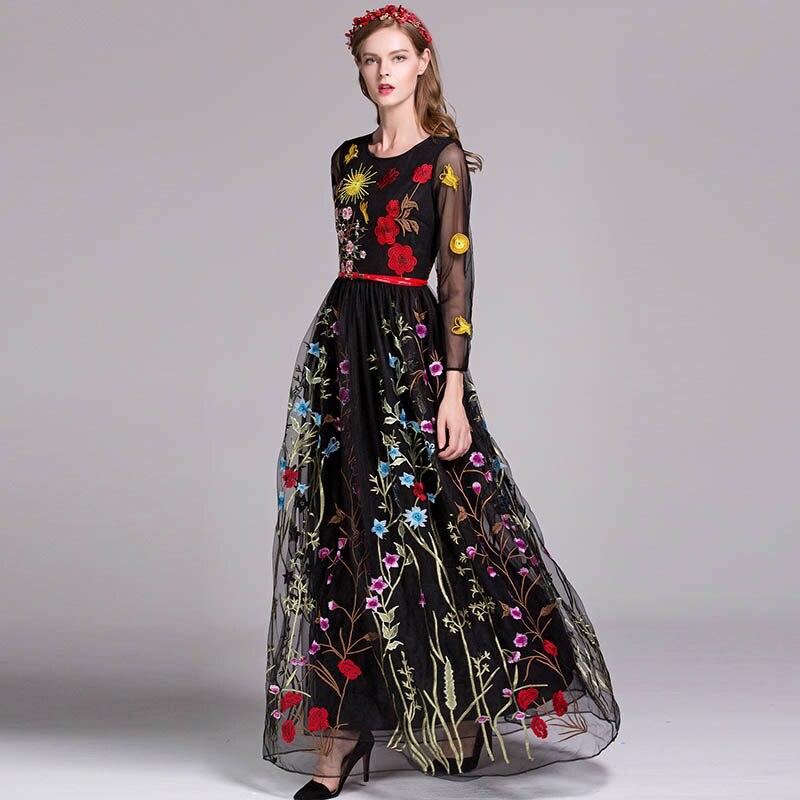 Nueva llegada de lujo 2019 primavera mujer cuello redondo manga larga bordado capas Floral Maxi vestidos de pasarela en 3 colores