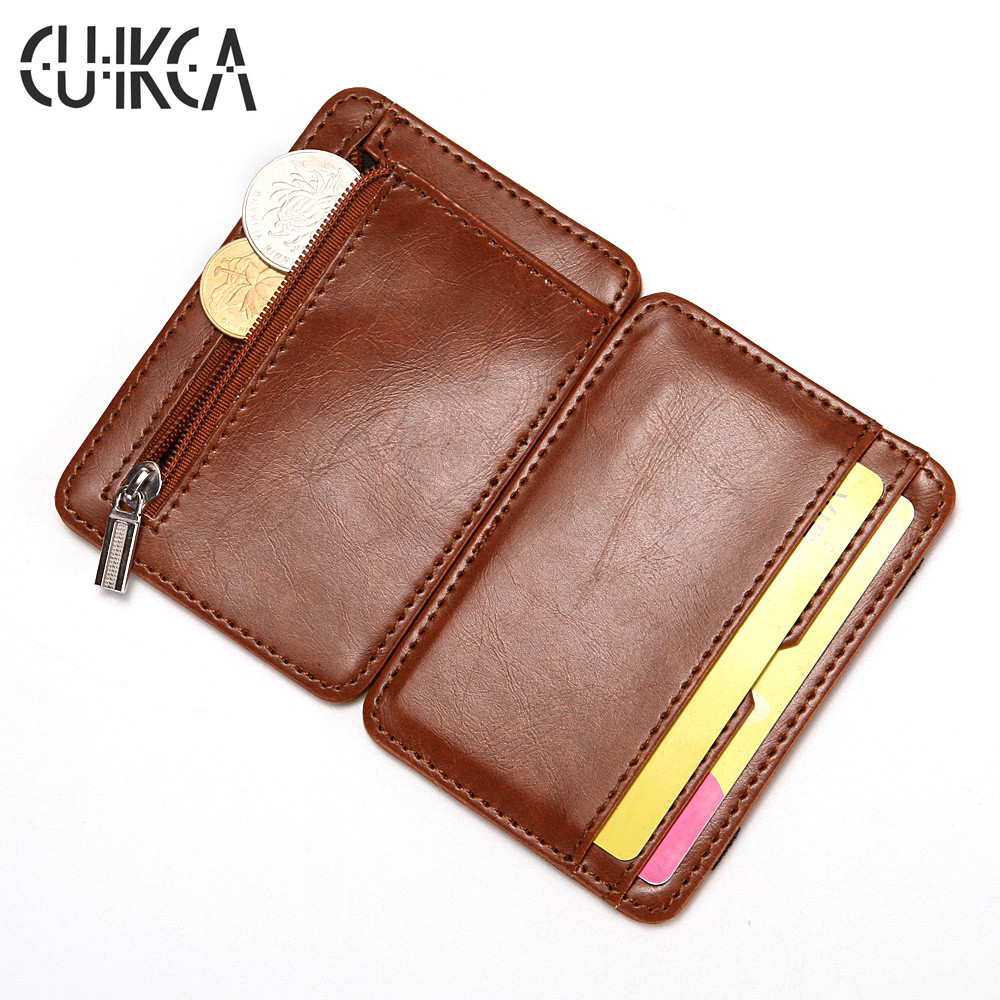 CUIKCA  Magic Wallet Thread Unisex Wallet Magic Money Clip Zipper Purse Slim Leather Wallet Business ID Credit Card Case