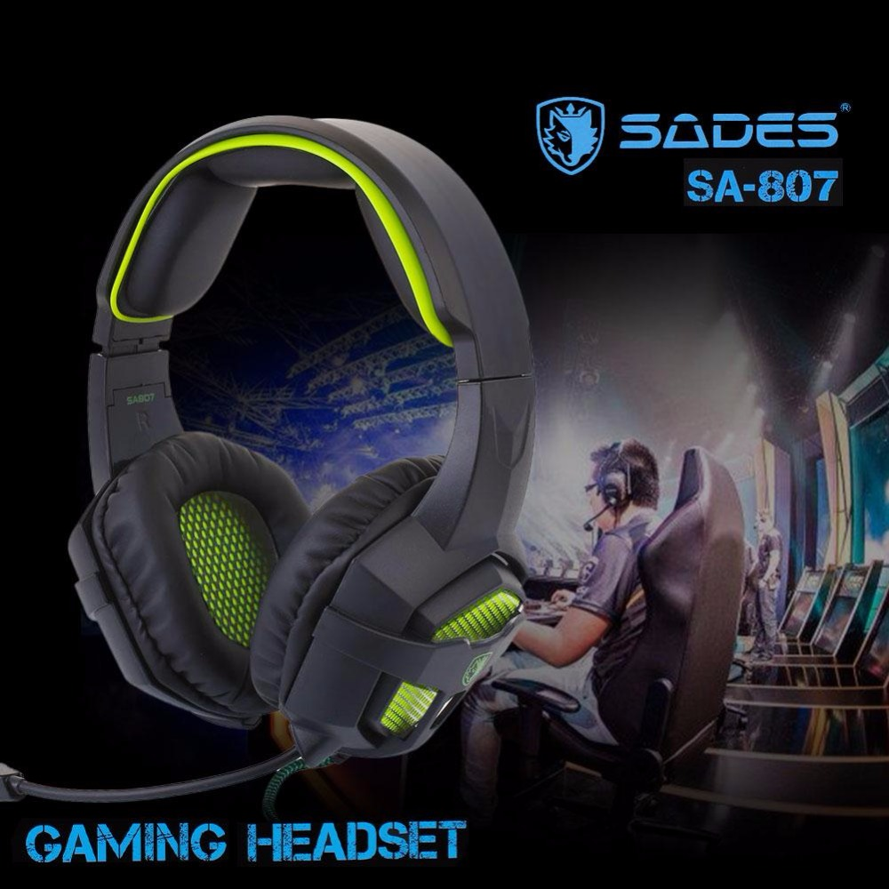 SADES SA-807 Wired Headband Headset Dynamic with Mic 3.5mm Stereo Surround Games competitive Headphone Net bar PC Laptop each g8200 gaming headphone 7 1 surround usb vibration game headset headband earphone with mic led light for fone pc gamer ps4