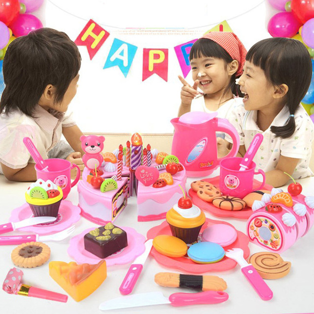 Children DIY Pretend Play Fruits Cutting Birthday Cake Kitchen Food Toys 5
