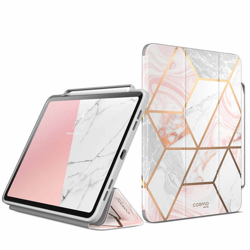 For iPad Pro 12.9 Case (2018) i-Blason Cosmo Full-Body Trifold Stand Marble Case Flip Cover with Auto Sleep/Wake & Pencil Holder
