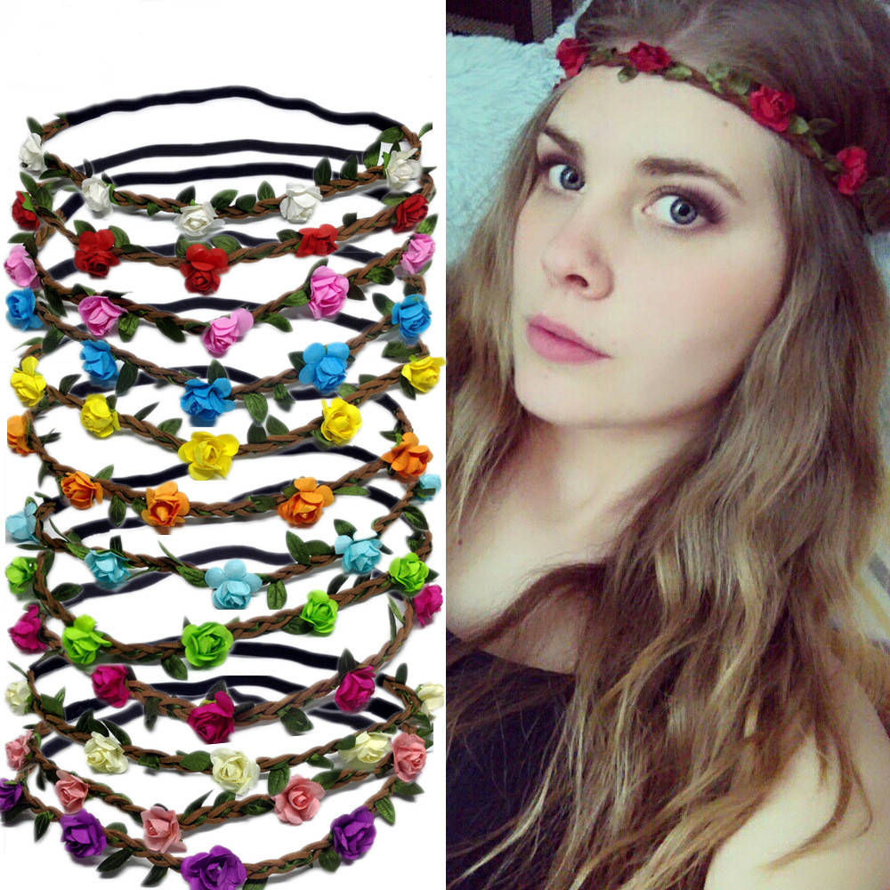 Bohemian Wreath Hair Accessories Flower Headband Women Headbands Rose Floral Wreath Girls Elastic Head Bands Wedding Hair Bands