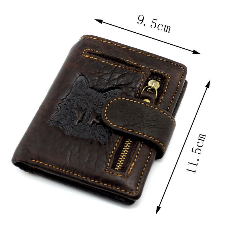 MICKY KEN Hot New Men's Leather Wolf Totem Doka Double Wallet Zipper High Quality Wallet Fashion Leather Wallet with Coin Bag(China)