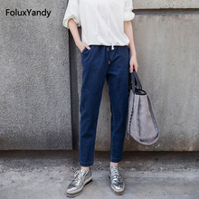 Brand New Loose Jeans Women Plus Size 3 4 5 XL Casual Elastic Waist Denim Pencil Pants Trousers Blue MYNN34 цена 2017