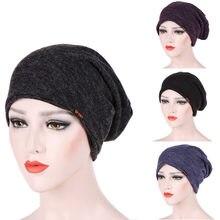 Mulheres Estiramento Turbante Muçulmano Indiano Headwear Quimio Capô  Senhora Warp Cabelo Barrete Beanie Dropshipping(China 4f0f8ab5e2a