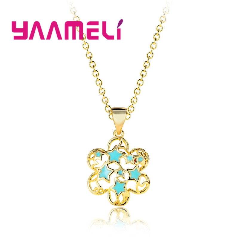 NEW Gold Color Flower Pendant Necklace 925 Sterling Silver Trendy Jewelry Accessory Small Star Composed Women Necklace image