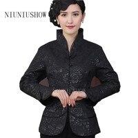 Noir Tradition Chinoise Style Vestes Élégant Mince Veste Manteau Tang Costume Tops Taille S M L XL XXL XXXL