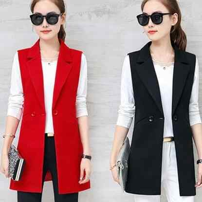 Spring Autumn Sleeveless Jacket Long Suit Vest Women Slim Blazer Vest Coat Waistcoat Office Lady Elegant Black Red Blue DR511