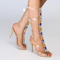 Мода новый большой Размеры Для женщин и Женские Прозрачные фантазийные босоножки на высоком каблуке