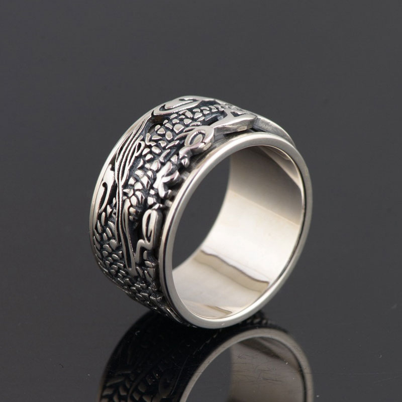 FNJ 925 Silver Ring Fashion Dragon Pattern Original S925 Sterling Thai Silver Rings for Men Jewelry USA Size 7.5-11FNJ 925 Silver Ring Fashion Dragon Pattern Original S925 Sterling Thai Silver Rings for Men Jewelry USA Size 7.5-11