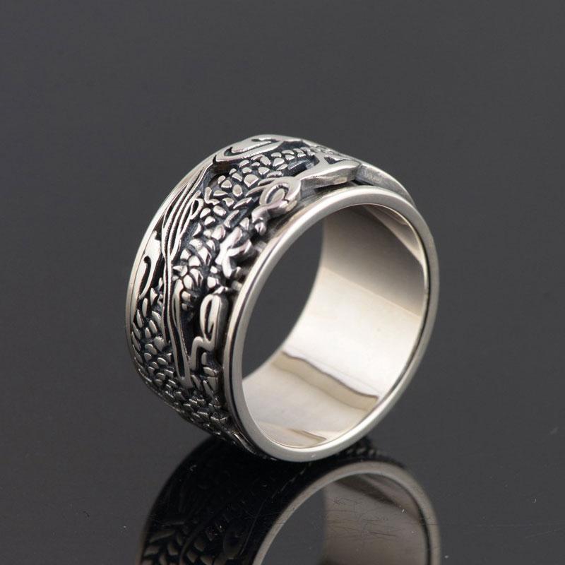 FNJ 925 Silver Ring Fashion Dragon Pattern Original S925 Sterling Thai Silver Rings for Men Jewelry USA Size 7.5-11 цена