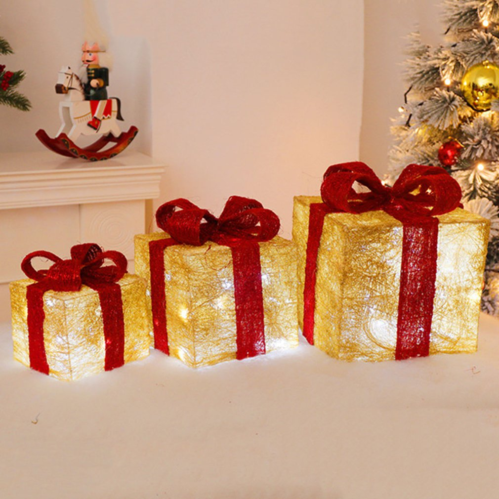 Light Up Parcels Christmas Decorations Argos: 3pcs Watch Christmas New Year Gifts Box LED Decoration