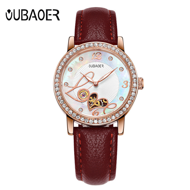 Women wtches mechanical watch OUBAOER leather ladies simple fashion casual Automatic clock relogio femininos gift Reloj Mujer sollen clock women skeleton automatic mechanical watch new arrival design women fashion casual leather watches relogio femininos