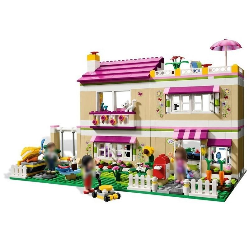 อิฐ OLIVIA'S HOUSE Legoe Friends 3315 อาคารบล็อกของเล่นเด็กของขวัญ 695 ชิ้น-ใน บล็อก จาก ของเล่นและงานอดิเรก บน   1