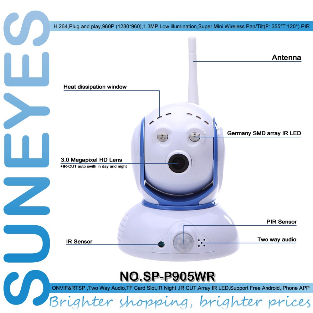 SunEyes SP-P905WR 960P HD PIR Mini IP Network Camera Wireless Pan/Tilt P2P ONVIF Low Lux IR Night Vision Micro SD Slot howell wireless security hd 960p wifi ip camera p2p pan tilt motion detection video baby monitor 2 way audio and ir night vision